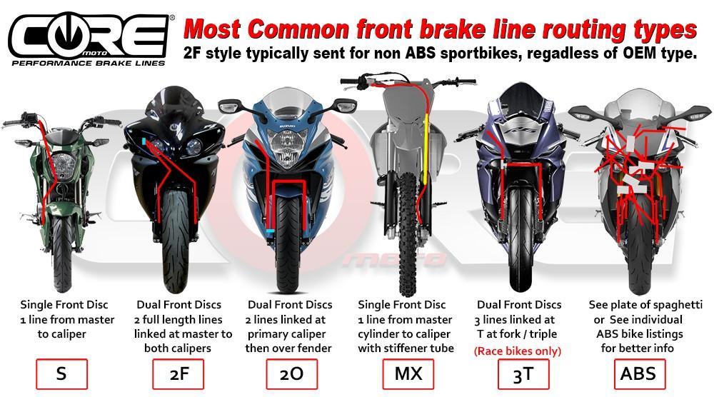 Core Moto 2007-2012 Honda CBR600RR  Dual Front Brake Line Kit