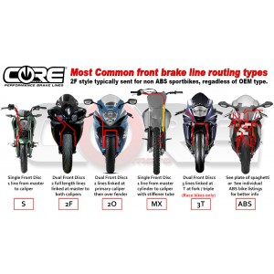 Core Moto 2015-19 Yamaha YZF-R1 3T Race Front and Rear Brake Line Kit (ABS Deleted)