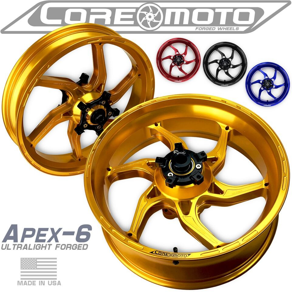 Core Moto Apex 6 Forged Aluminum Wheels - 2015-19 Yamaha YZF-R1 with Suter Swingarm