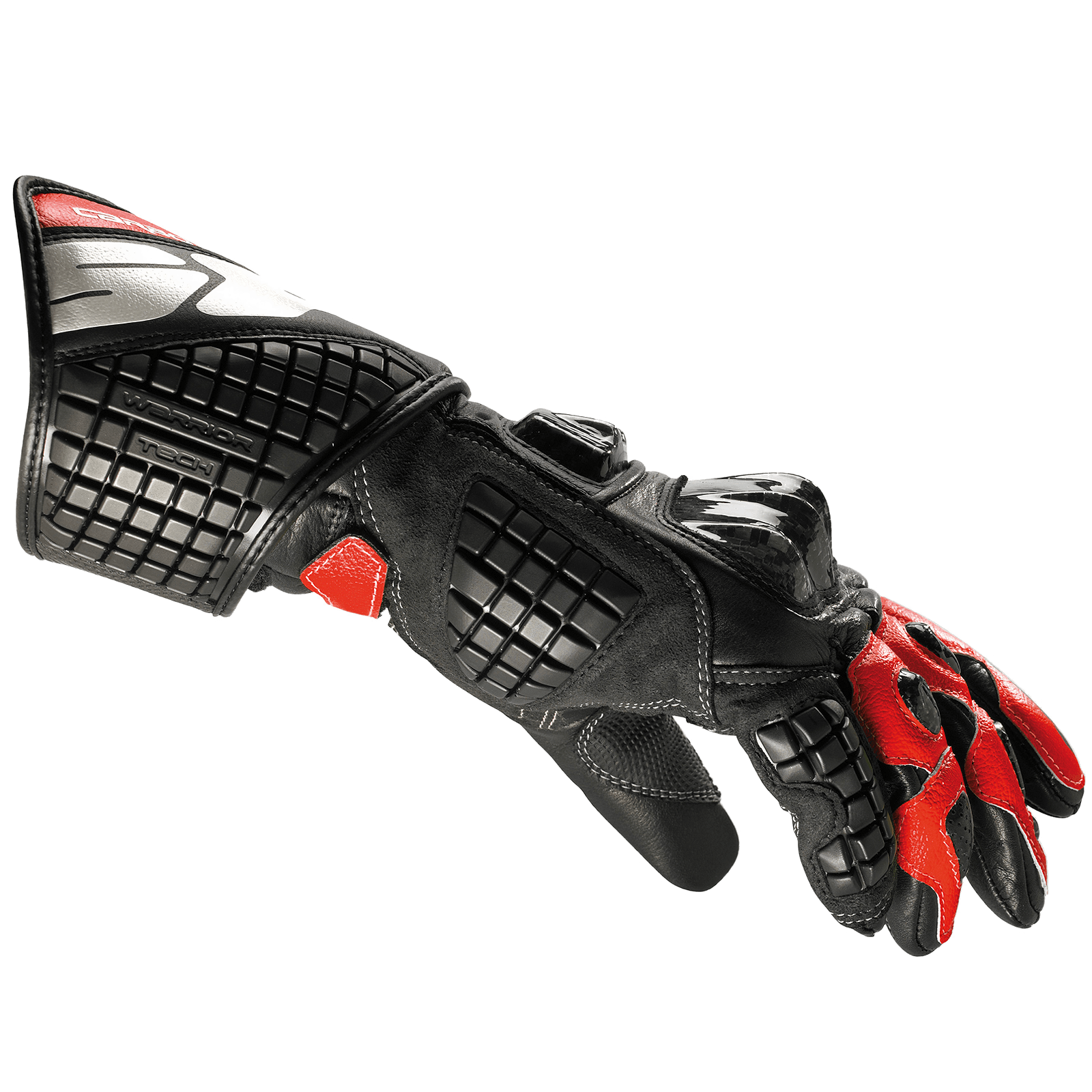 Spidi Carbo Track Leather Gloves - Black / Red