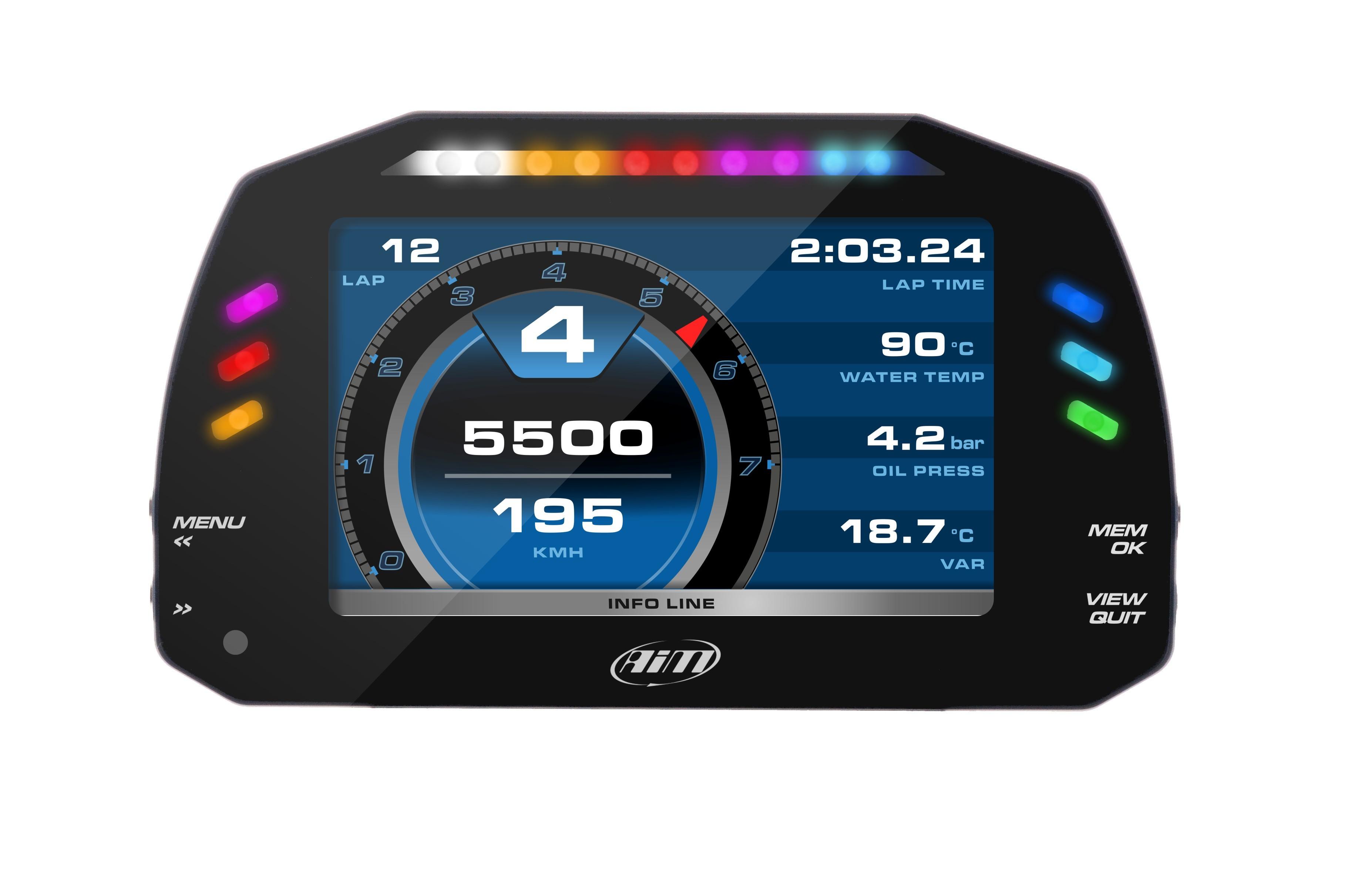 AIM Sports MXS Color Motorcycle Dash Data Logger - Honda, Kawasaki, Suzuki, Yamaha, Ducati, BMW, Aprilia