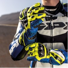 Spidi Carbo Track Replica Leather Gloves-Blue Yellow